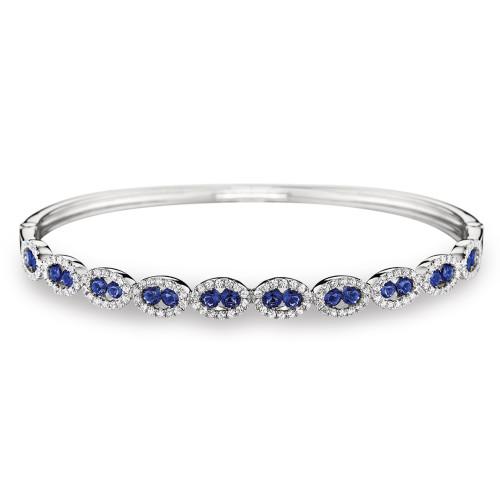 14K White Gold Blue Sapphire and Diamond Ovals Bracelet