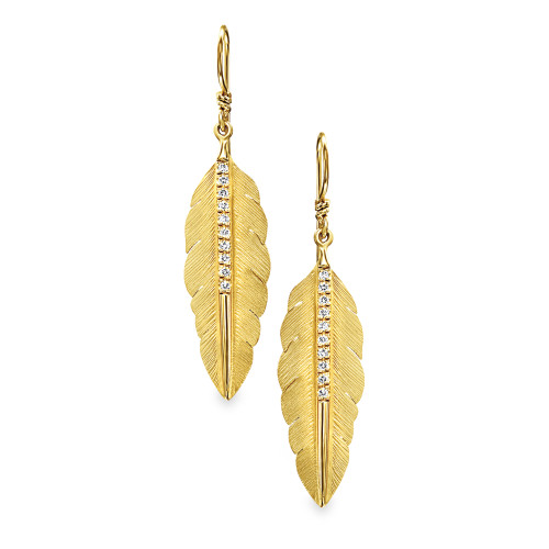 14K Yellow Gold Feather Earrings With Diamond Accents