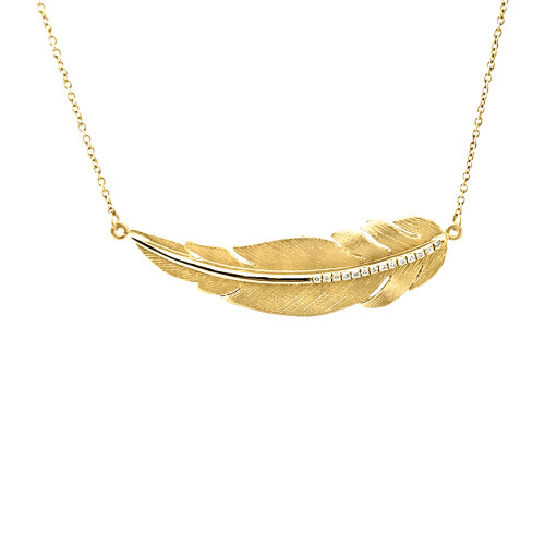 14K Yellow Gold Feather Necklace With Diamond Accents