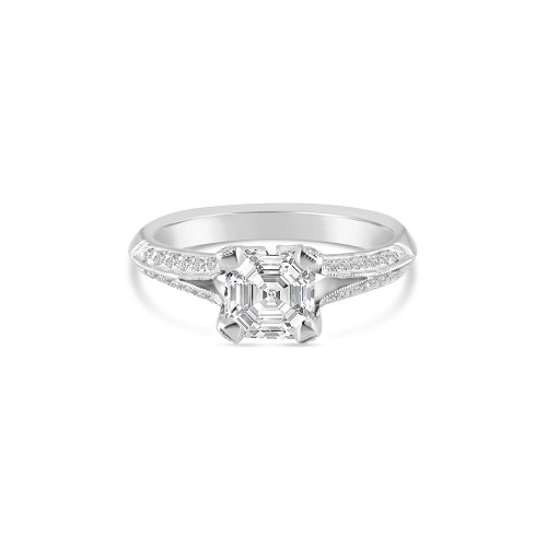 14K White Gold Split Shank Engagement Ring With Diamond Accents and Milgrain Detail