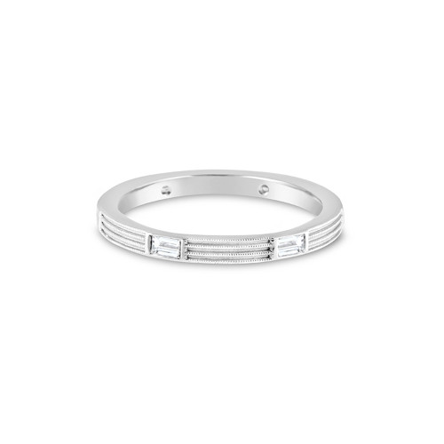 14K White Gold Wedding Ring With Baguette Diamond Accents and Fern Finish Detail