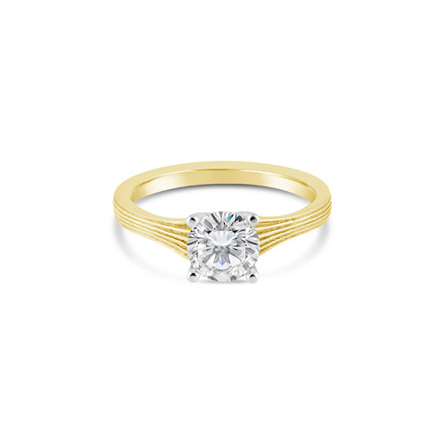 14K Yellow Gold Engagement Ring With Fern Finish Detail
