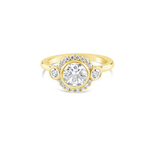 14K Yellow Gold Three Stone Engagement Ring With Diamond Halo Accent