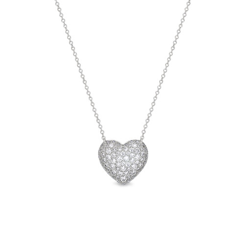 18K White Gold Pave-Set Diamond Heart Pendant