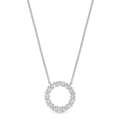 18K White Gold Diamond Round Eternity Pendant