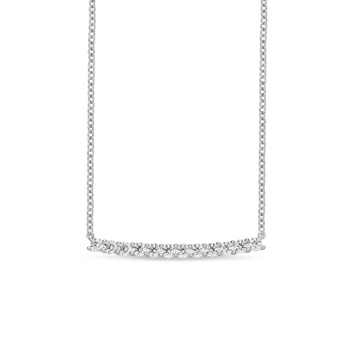 18K White Gold Diamond Bar Pendant