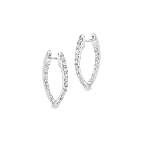 18K White Gold Diamond V-Shaped Huggy Earrings