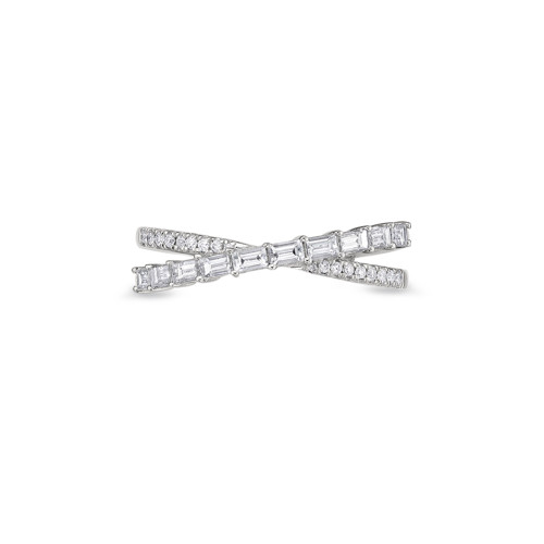 18K White Gold Diamond X Ring