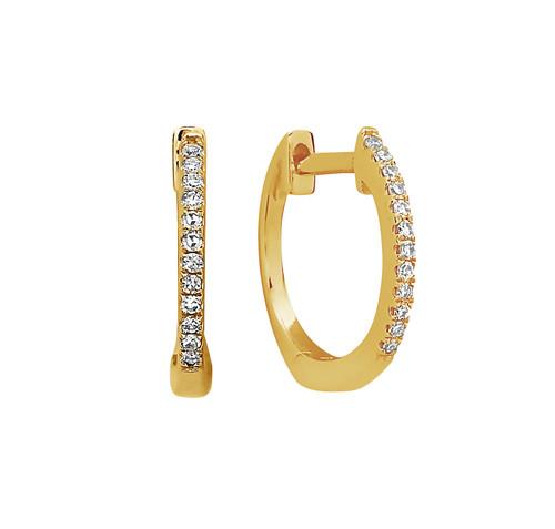 14K Yellow Gold Mini Diamond Huggie Earrings