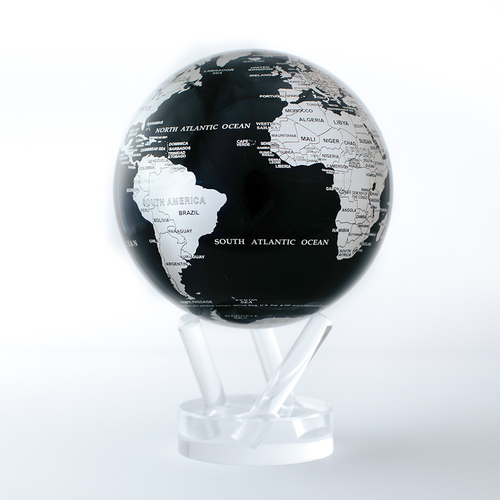 Black and Silver  Globe with Acrylic Stand - 4.5 Inch