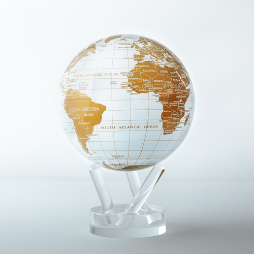 White and Gold Globe with Acrylic Stand - 4.5 Inch
