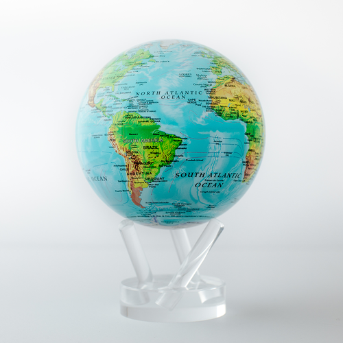 Blue Ocean Relief Map Globe with Acrylic Stand - 4.5 Inch