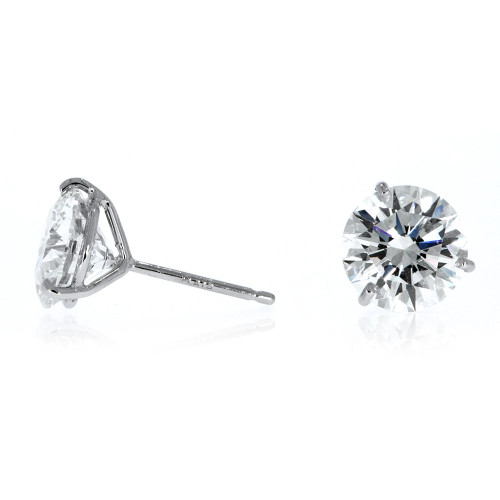 Platinum Diamond Solitare Earrings- 0.53ctw