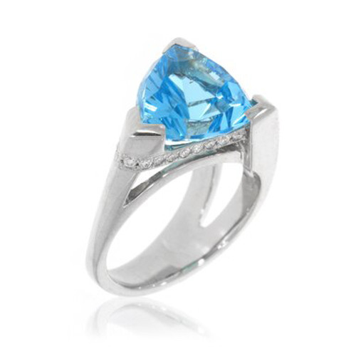 14K White Gold Mark Gronlund Blue Topaz Ring With Diamond Accents