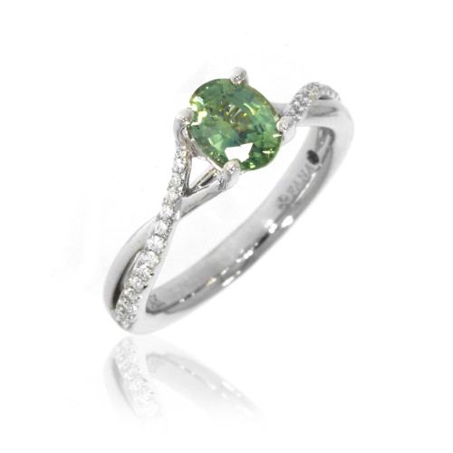 14K White Gold Green Montana Sapphire Twist Ring With Diamond Accents