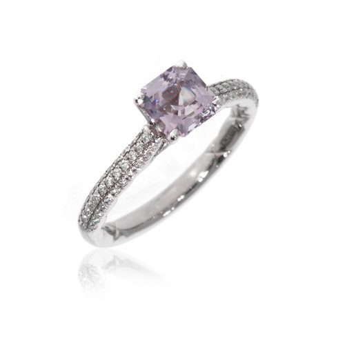 18K White Gold Lavender Asscher Spinel Ring With Pave Set Diamond Accents
