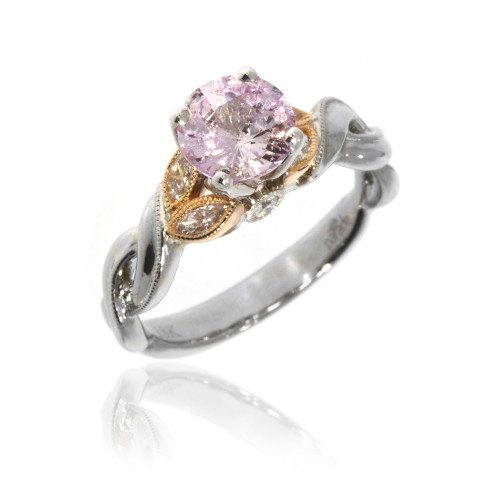 18K White and Rose Gold Pink Sapphire Vintage Inspired Ring With Diamond Accents