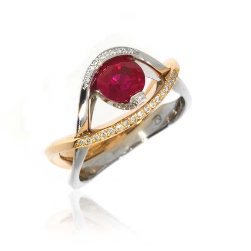 18K White and Rose Gold Ruby Interlocking Ring With Diamond Accents