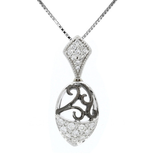 14K White Gold Scroll Pendant With Diamond Accents