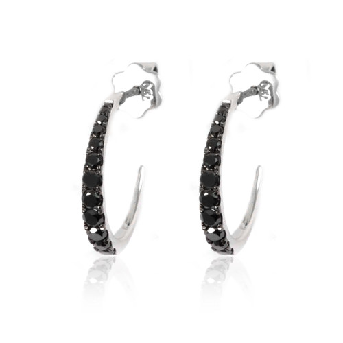 18K White Gold Black Diamond Hoop Earrings