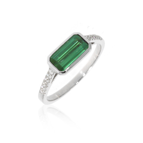 18K White Gold East West Green Tourmaline Ring With Diamond Accents