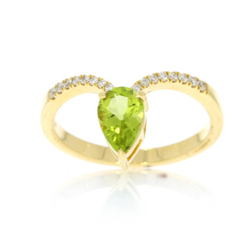 18K Yellow Gold Peridot V Ring With Diamond Accents