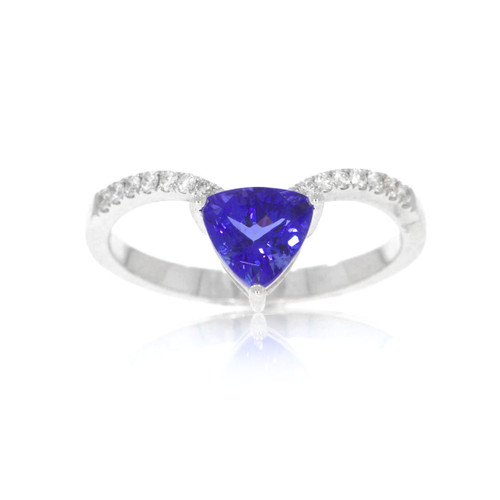 18K White Gold Tanzanite V Ring With Diamond Accents