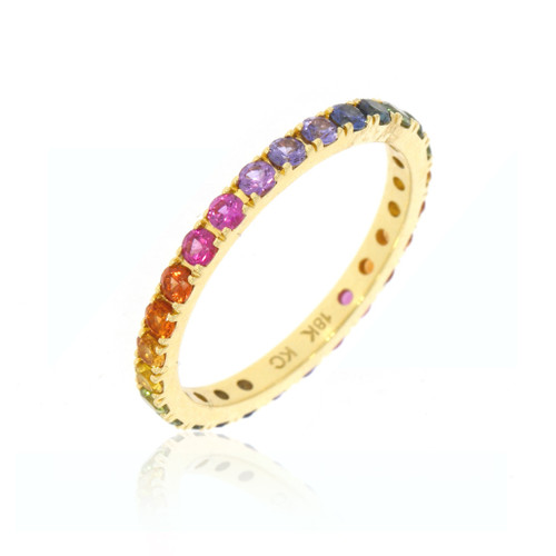18K Yellow Gold Large Rainbow Sapphire Eternity Ring
