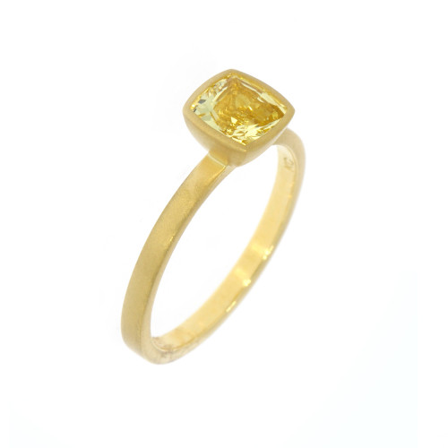 18K Yellow Gold Cushion Yellow Danburite Yumdrop Ring