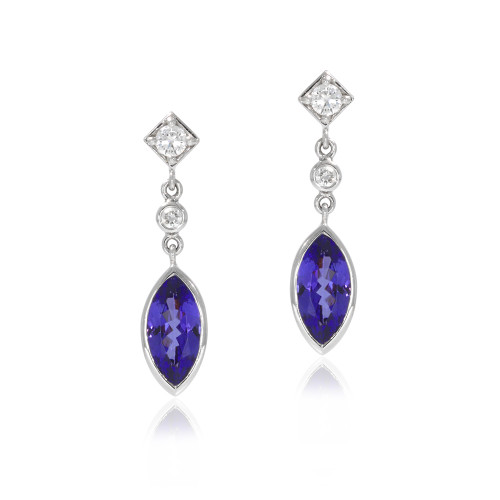18K White Gold Tanzanite and Diamond Drop Earrings