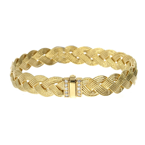 14K Yellow Gold Five Strand Braided Bracelet With Diamond Accents