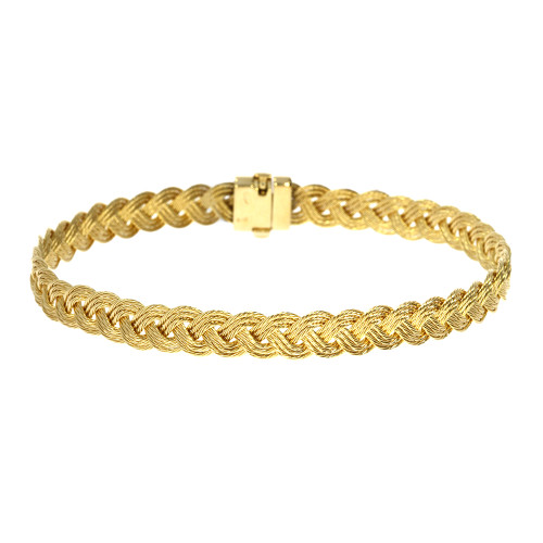 14K Yellow Gold Three Strand Braided Bracelet