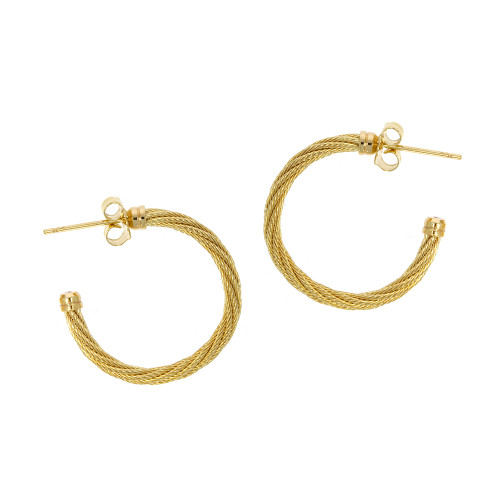 14K Yellow Gold 2mm Twisted Cable Hoop Earrings