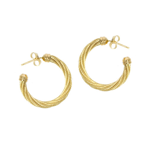 14K Yellow Gold 3mm Twisted Cable Hoop Earrings