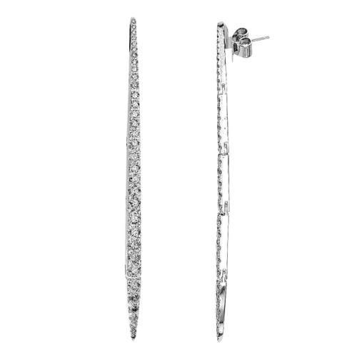 18K White Gold Graduated Diamond Dangle Earrings