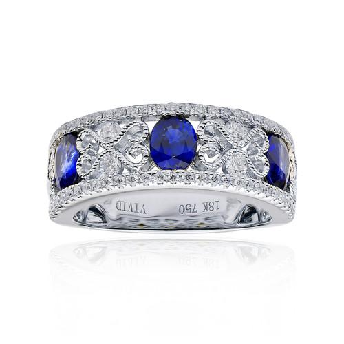18K White Gold Blue Sapphire and Diamond Filigree Ring