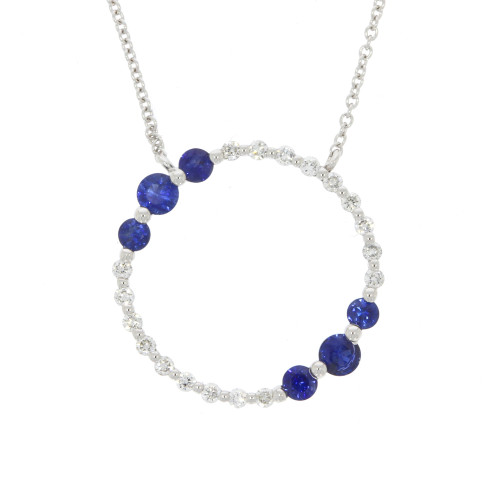 18K White Gold Blue Sapphire and Diamond Circle Necklace