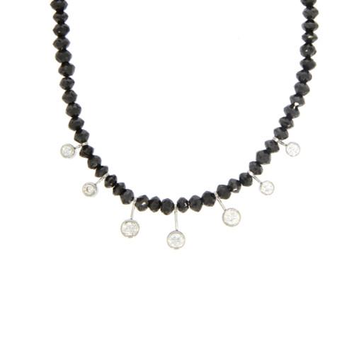Platinum Faceted Black Diamond Bead and Diamond Necklace