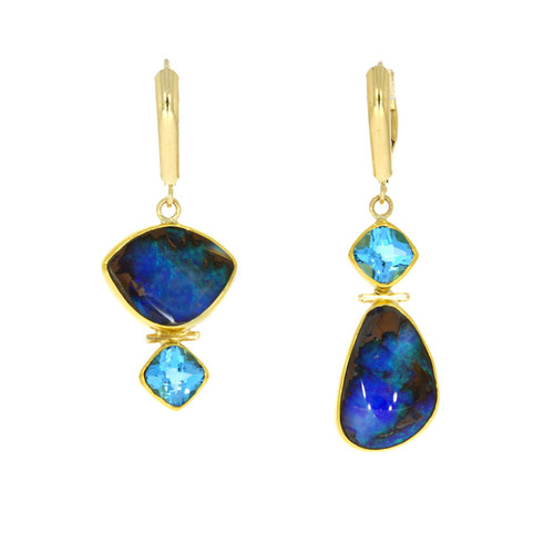 22K Yellow Gold Asymmetrical Boulder Opal and Blue Topaz Earrings
