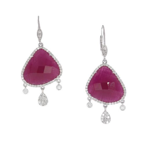 14K White Gold Rose Cut Ruby Earrings With Diamond Earrings