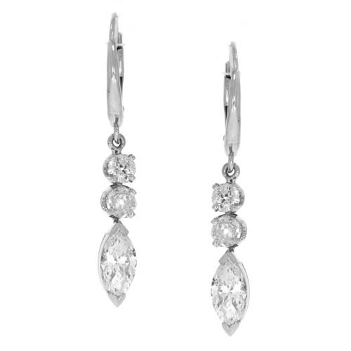 14K White Gold Mixed Cut Diamond Dangle Earrings