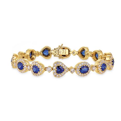 18K Yellow Gold Blue Sapphire and Diamond Bracelet