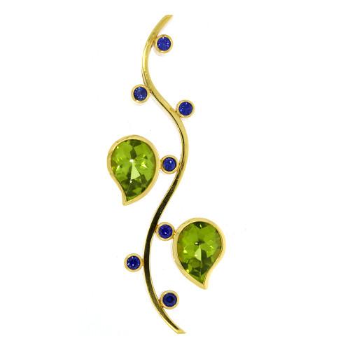 18K Yellow Gold Peridot and Blue Sapphire Pendant