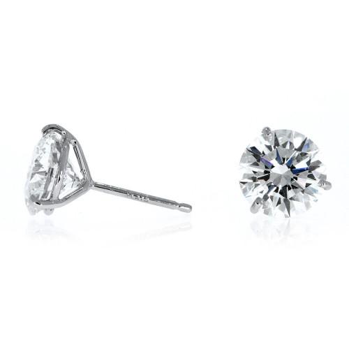 14K White Gold Diamond Solitaire Earrings - 1.51ctw