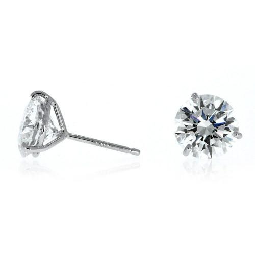 14K White Gold Diamond Solitaire Earrings - 1.42ctw