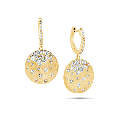 14K Yellow Gold Disk Dangle With Diamond Accents