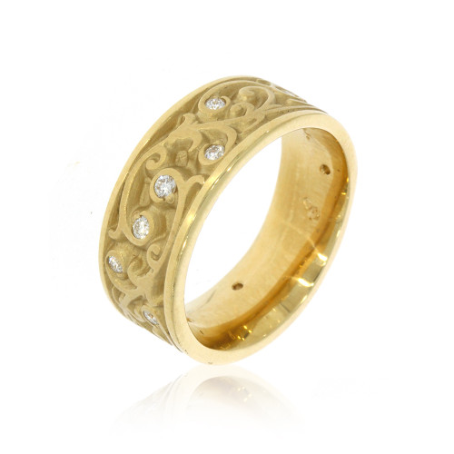 14K Yellow Gold Garden Gate Wedding Ring With Diamond Accents