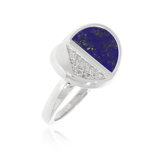 Sterling Silver Half Moon Lapis Lazuli Ring With White Sapphire Accents