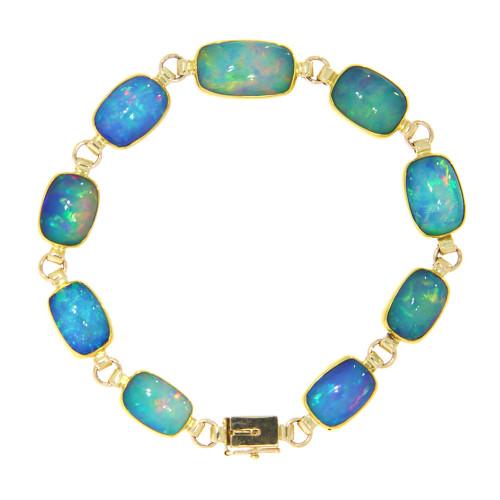 22K Yellow Gold Ethiopian Opal Bracelet