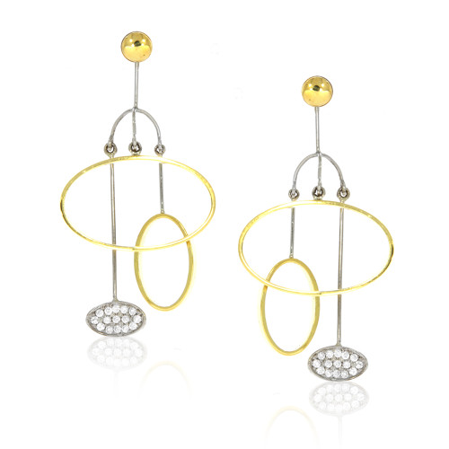 18K Yellow and White Gold Dangling Oval Earrings With Diamond Accents